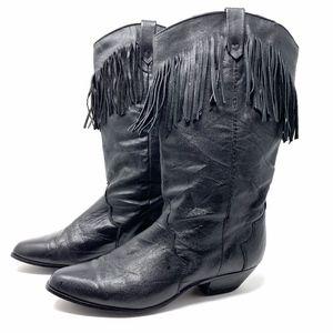 DINGO Black Leather Fringed Cowboy Boots (Retro)